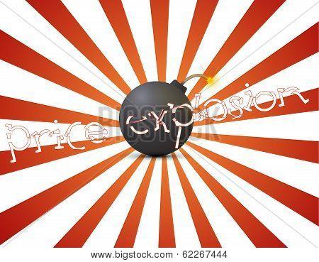 Vector Black Bomb With Sale Sticker