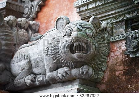 Animal Like A Dog On The Wall Of Temple. Bali, Indonesia