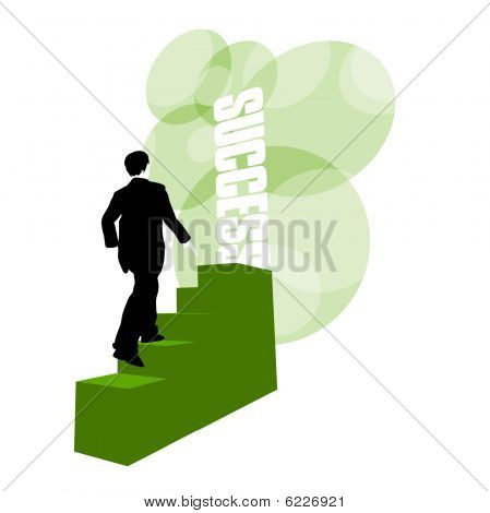 Businessman climbing stairs to success on white background