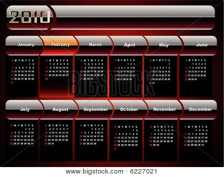 Design breadboard model of a calendar for 2010 on an abstract background