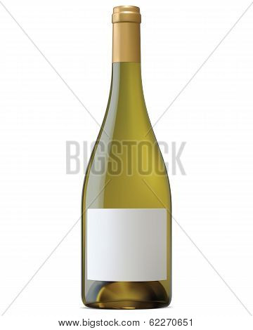 Burgundy Wine Bottle With Blank Labels Isolated. Vector Illustration