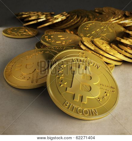 3D rendering af a group of bitcoins
