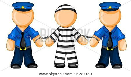 Police officers holds prisoner