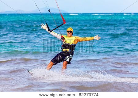 Young Smiing  Kitesurfer On Sea Background Extreme Sport Kitesurfing
