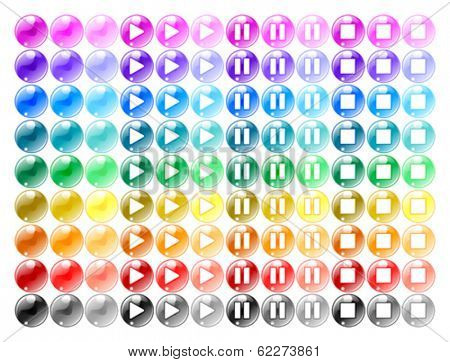 Colored player buttons: Play, Pause, Stop and neutral bubble. Isolated vector objects.