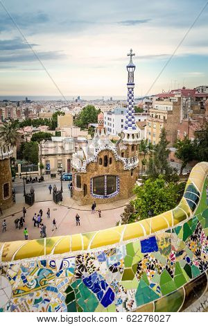 Ceramic bench and entrance pavilion of park Guell