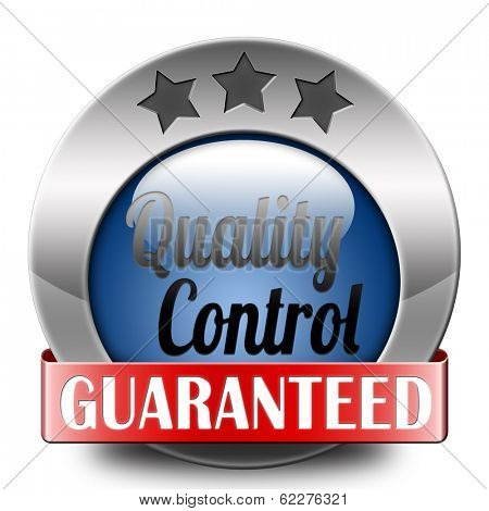 Quality control label 100% guaranteed warranty and top product survey icon