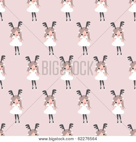 Seamless sweet pastel deer girls quirky kids illustration background pattern in vector