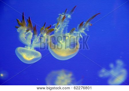 Luminous Jellyfish In Blue Background Oil Paint Stylization