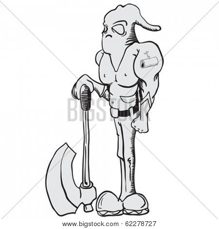 cartoon illustration of executioner with an axe