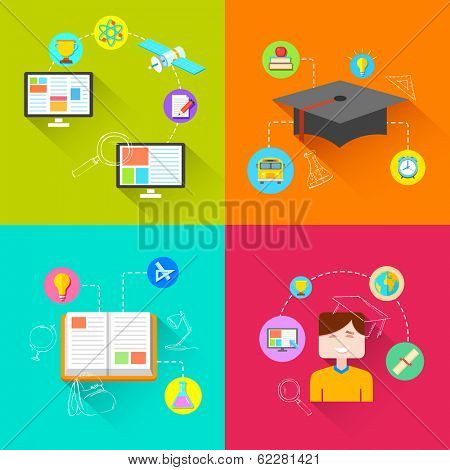 illustration of e learning concept in flat style