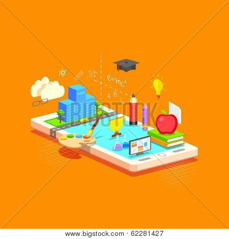 illustration of e learning concept on mobile in flat style