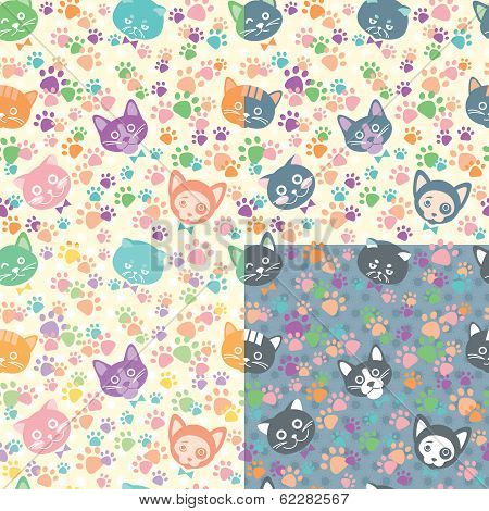 Seamless Background Cat Faces