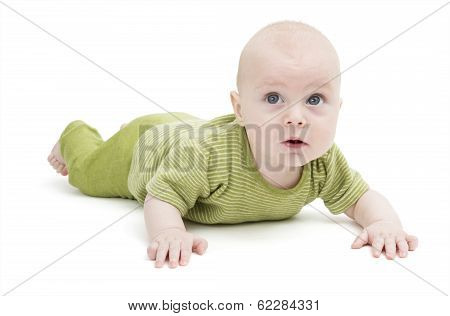 Toddler In Green Clothing Isolated In White Background