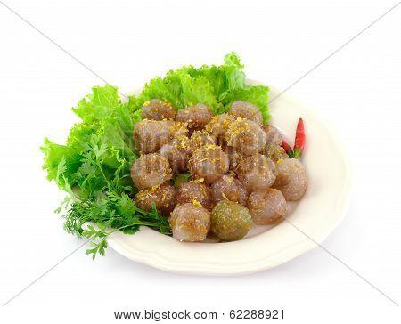 Kanom sago; Thai dessert ; powdery starch from certain sago palms stuff with pork