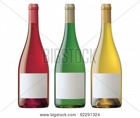 Burgundy Wine Bottles. Vector Illustration