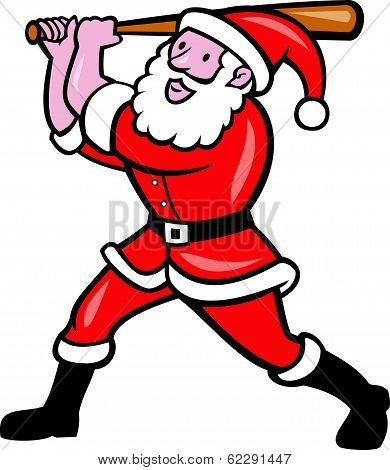 Santa Baseball Player Batting Isolated Cartoon