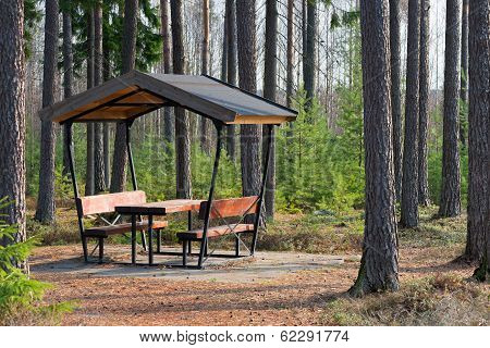Rest Area In The Forest Besides The Highway