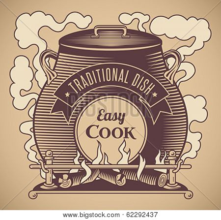 Vintage styled traditional cuisine label. Editable vector illustration.
