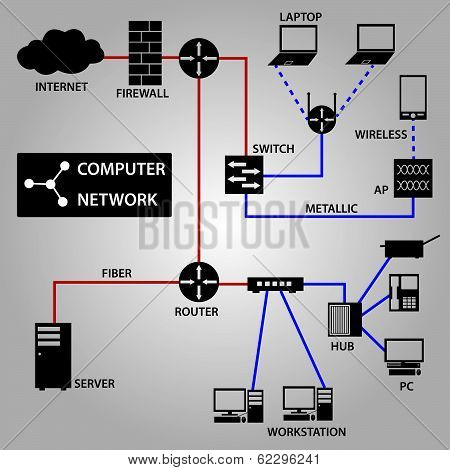 computer network connection icons eps10