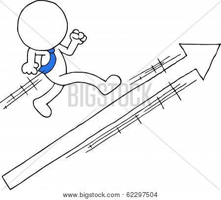 Businessman With Arrow Sign