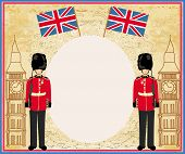 picture of beefeater  - Abstract frame with a flagBeefeater soldier and Big Ben  - JPG