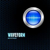 picture of sine wave  - Silver button with blue sound wave sign on hex grid - JPG