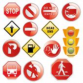 pic of traffic signal  - a lot of traffic signals with text and silhouettes and a traffic light - JPG