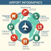 stock photo of passport template  - Airport business infographic presentation template concept design world map and airport service icons vector illustration - JPG