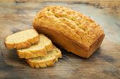stock photo of flaxseeds  - slices and loaf of freshly baked - JPG