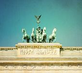 stock photo of rebuilt  - Vintage Brandenburg Gate  - JPG