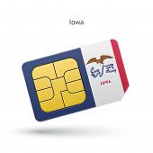 State of Iowa phone sim card with flag.