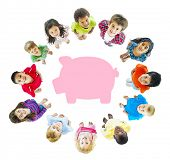 picture of pre-adolescent child  - Piggy Bank Saving - JPG