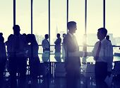 picture of partnership  - Group of People Shaking Hands at New York Skyline - JPG