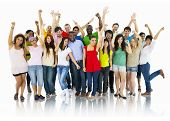 stock photo of arms race  - Large Group of World People Celebrating - JPG