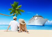 stock photo of passenger ship  - Romantic Couple Relaxing at Beach with 3D Cruise Ship - JPG