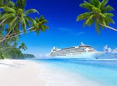 stock photo of passenger ship  - 3D Cruise Ship by Tropical Beach - JPG