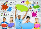 foto of pre-adolescent girl  - Cheerful Children with Multi Colored Speech Bubbles - JPG