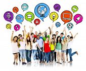 stock photo of robot  - Group of Aspiring Students with Speech Bubbles - JPG