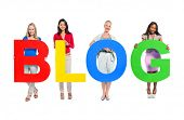 stock photo of adolescent  - Group of Diverse People Holding The Word Blog - JPG