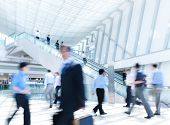 stock photo of escalator  - Business Rush Hour in Office Building - JPG