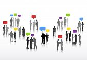 image of debate  - Vector of Business People with Speech Bubbles - JPG