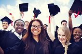 stock photo of ethnic group  - Group of Diverse International Graduating Students Celebrating - JPG