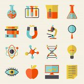 stock photo of proton  - Science icons in flat design style - JPG