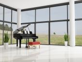 stock photo of grand piano  - grand piano in a modern minimalist living room  - JPG