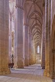 Batalha, Portugal - March 02, 2013: Batalha Monastery. Secondary nave and aisle of the Church. Gothi