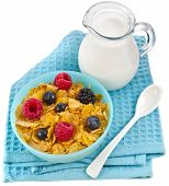 corn flakes with fresh berries and carafe milk isolated on white background