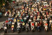 Crowed  Scene Of Urban Traffic  In Vietnam Rush Hour