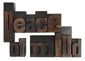 phrase peace of mind written in vintage wooden letterpress type, scratched and stained, isolated on