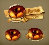 Ring donut in chocolate glaze, retro vector icon